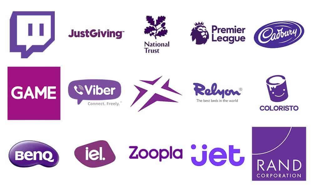 Nhiều thương hiệu khởi nghiệp thiết kế logo màu tím